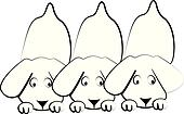 Puppies dogs silhouettes logo