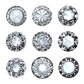 Jewelry gems roung shape on white background