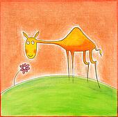 Happy young camel, child's drawing, watercolor painting on paper