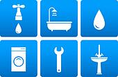 bath objects on blue background