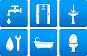 set of plumbing icons