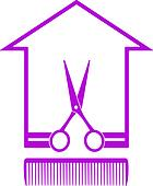 icon with house, scissors and comb