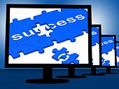 Success On Monitors Showing Progress