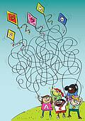 Children Playing with Kites Maze Game