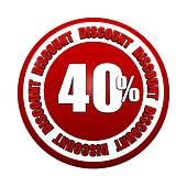 40 percentages discount 3d red circle label