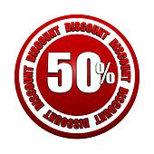 50 percentages discount 3d red circle label