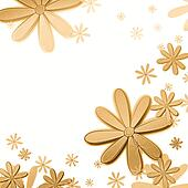 beige flowers over white background