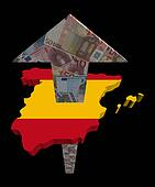 European Euros arrow and Spain map flag illustration