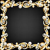 gold jewelry frame and pearls