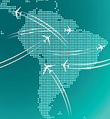 Map of South America with trace of airplanes