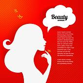 Applique background with beautiful girl silhouette for your desi