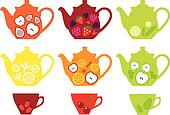 tea pots and cups with fruits, vect