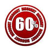60 percentages discount 3d red circle label