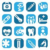color medical icon set