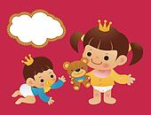 Baby boys and baby girls in diapers. Childrens Character Design