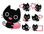 Flexibility as possible a set of Black Cat Mascot. An animal Cha