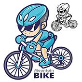 Man Mascot riding a mountain bike. Are going to travel by bicycl