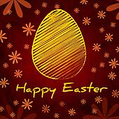 Happy Easter text and striped yellow egg, vintage background over brown old paper with daisy flowers