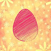 pink easter egg over yellow old paper background with flowers