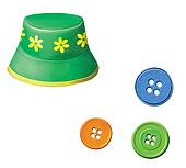Green baby Panama hat with flowers. Colorful buttons.