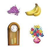 Old wooden Clock, pendulum, Grape, Bananas and Flowers in Pink Vase