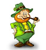 CartoonishLeprechaun with a smoking pipe. A lucky leprechaun wearing a green suit