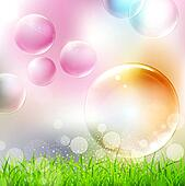 background with flying colorful bubbles