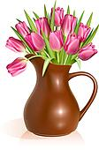 Pink tulips in clay pitcher