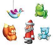 Children Toys,Christmas children Gifts. Bird, Frog, bear, squirrel and Santa.