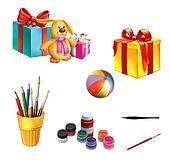 Children gifts and toys. Gift boxes with ribbons. Rabbit, ball, pencils and pen, paint and brushes