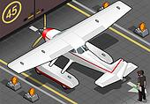 Isometric Landed Seaplane Out of Hangar