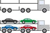 Truck with and without Cars