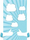 A hand holding card with sun rays with abstract white clouds