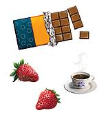 bar of chocolate. strawberries, strawberry, Tea cup.Cranberry, Raspberry. Berries