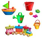 Children christmas gifts. Toys. Toy boat, watering can, sand molds and toy pail, toy train