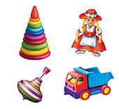 Children Toys. Sitting Doll in a red dress. children truck, motor lorry, peg-top, toy pyramid. whirligig.