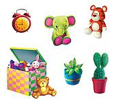 Children Toys. Toy Elephant, Toy tiger, box for toys, plant in the pot and cactus