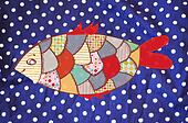 Fish textile  background funny design