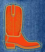 Cowboy shoe on blue jeans background.Vector boot symbol