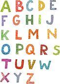 Colourful Woodcut Font Set