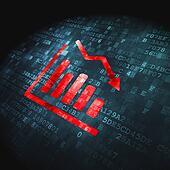 Business concept: Decline Graph on digital background