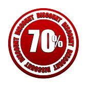 70 percentages discount 3d red circle label