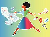 Woman balancing work and family