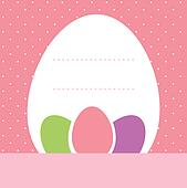 Pink dotted easter background with eggs and copyspace