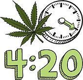Time to smoke marijuana sketch