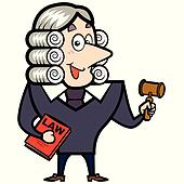 Cartoon Judge with a Gavel and Law Book