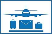 plane, mail envelope and luggage ba