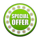 spring special offer green circle label with flowers