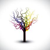 Beautiful abstract, colorful graphic tree symbol with copy space. This illustration can be used for prints of book cover, greeting cards, etc