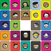 Colorful graphic of cute and happy faces of children(kids). The